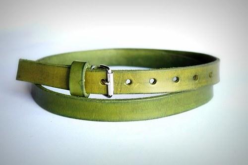 Kožený úzký opasek (zelená)