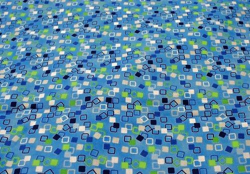 Modrozelená mozaika - metráž, bavlněné látky