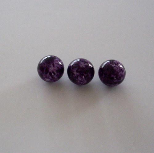 Skleněná kulička - fialová-mrakatá, vosk