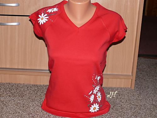 Malované tričko kopretinky