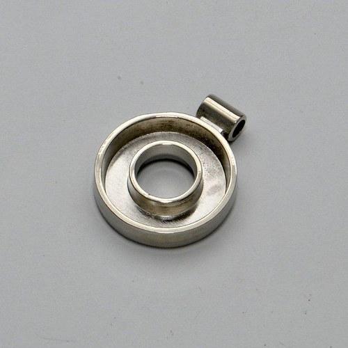 Kovový základ na přívěsek otevřené kolečko / stříb