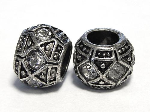 Kovový komponent, rondelka, velký průvlek, kamínek