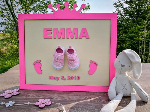 Dětský obraz se jménem a datem narození dítěte