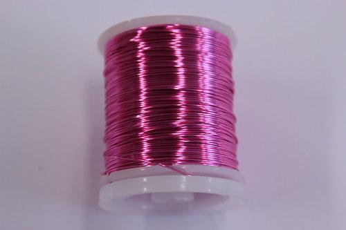 Měděný drátek 0,8mm - růžový, návin 8,5-9m