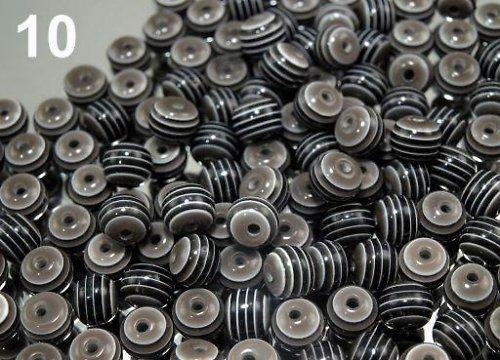 Korálky plast kulička Ø 8mm s proužkem 20ks
