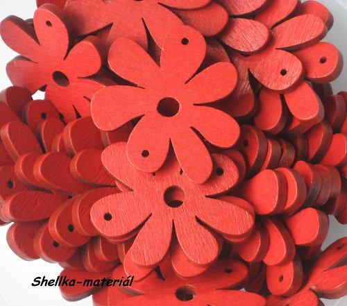 3.Dřevěná kytička velká-červená...2kusy