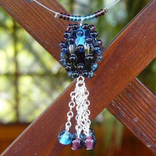 Náhrdelník dvoubarevná oliva - fialovo - modrá