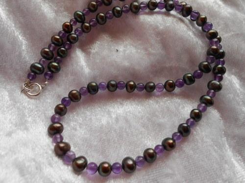 Náhrdelník - Říční perly s Ametystem