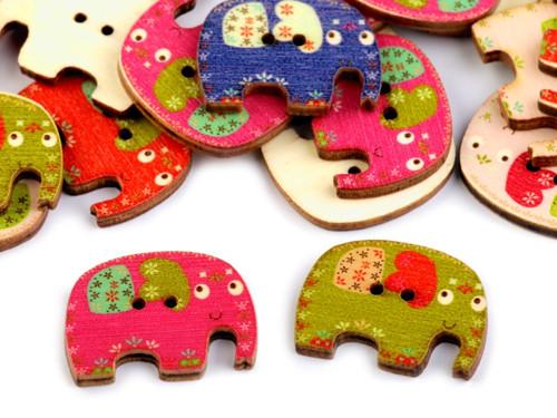 Dřevěný dekorační knoflík slon (5ks) mix