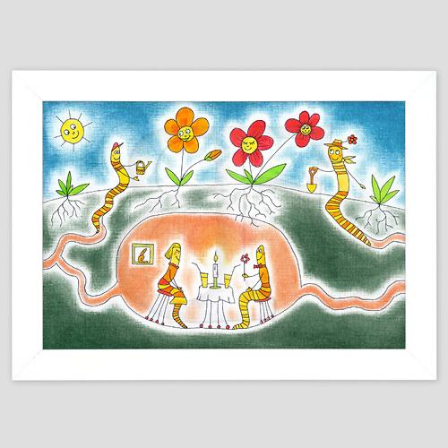 Žížalí život - ručně malovaný obrázek A4 v rámu