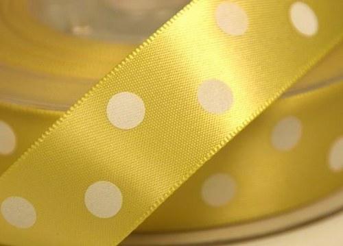 stuha satén puntík 22mm žlutá - 3m
