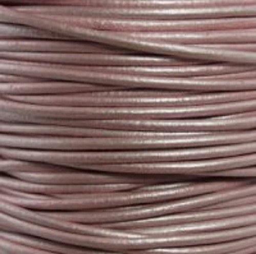 indická kulatá kůže metalická světle růžová 1 mm