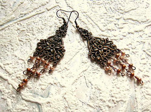 Metalic copper náušky