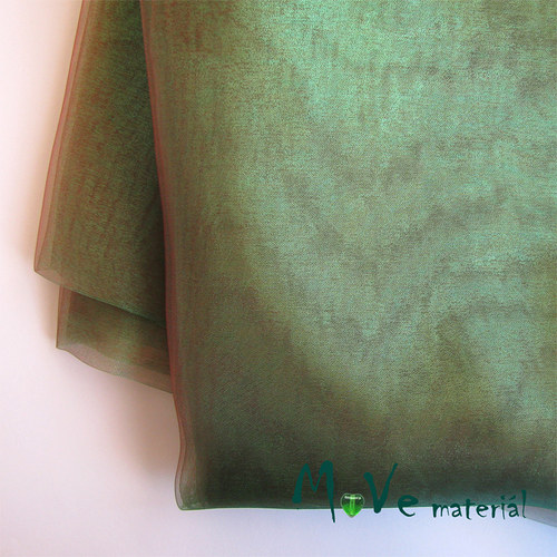 Organza zelená do olivova 140cm/ 20 cm