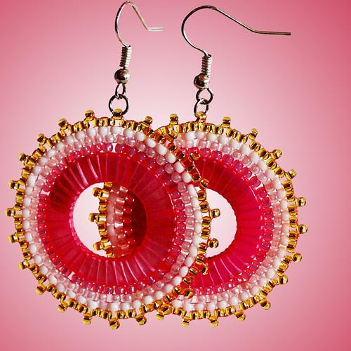 Růžové sluníčkové náušnice