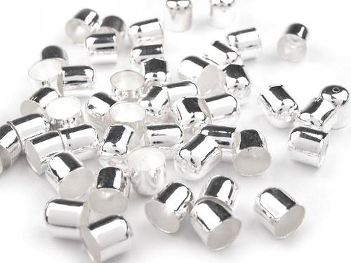Kaplík 10x10mm hladký - stříbro - 1pár