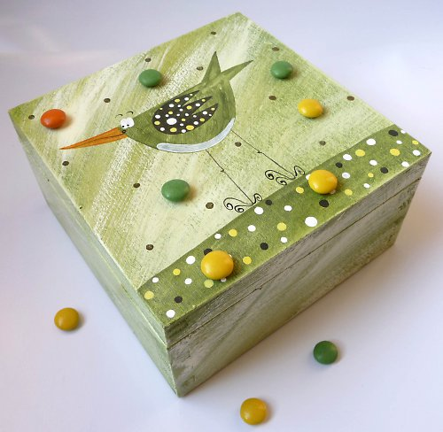 krabice na 4 ponožky - zelená s ptáčkem