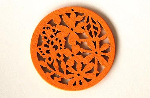 dřevěná kolečka- sytě oranžová