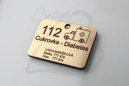 SPE4258, PRÍVESOK Cukrovka-Diabetes ZLATO /1ks