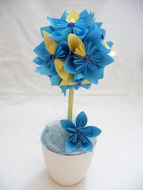 Kusudama stromek-modro-žlutý