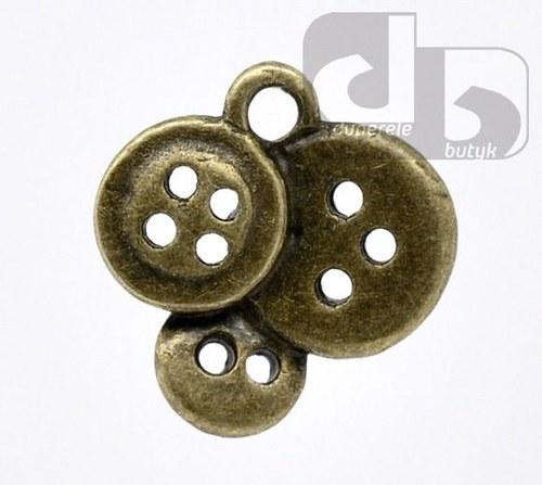 Bronzový přívěšek - knoflíky 15 x 14mm, 2 ks
