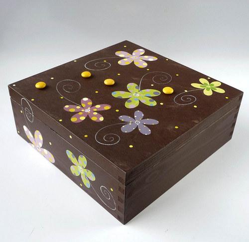 krabice na ponožky - hnědá s květy