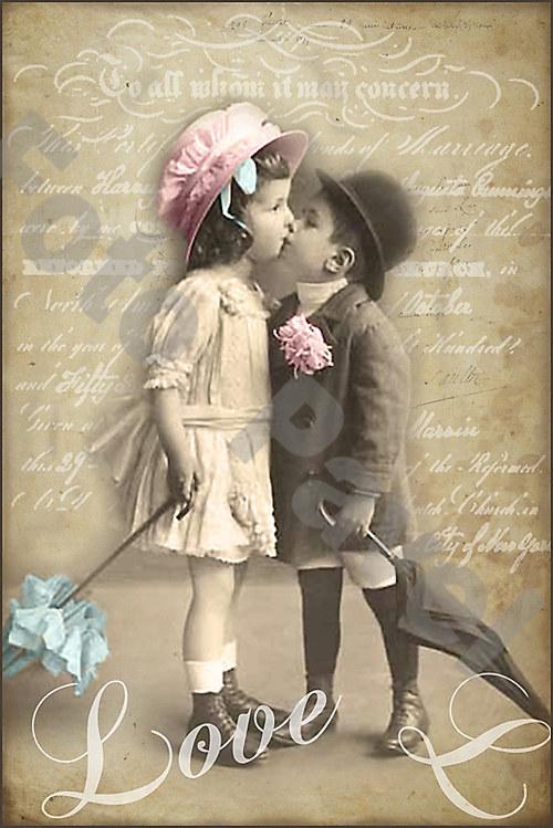 Vintage motiv - dvě malé děti s deštníky
