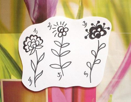 3 květiny sada  6 ks razítek... Omyvatelná.