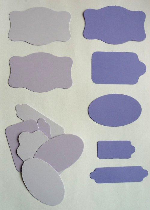 Cedulky fialové - výseky 15 ks