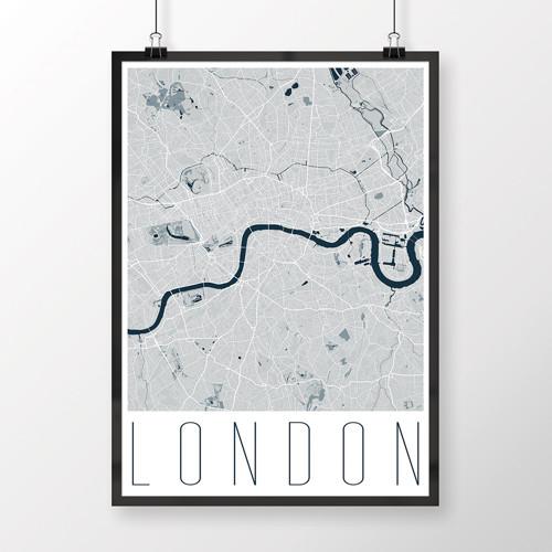 LONDÝN, 50x70cm, moderní, světle modrý