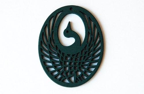 dřevěný oválek- páv- tm.zelený