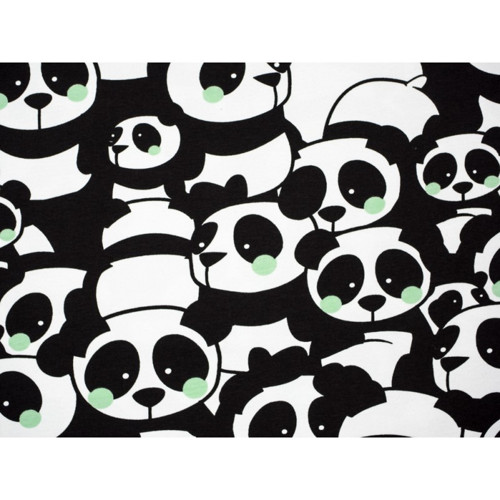 Metráž  úplet - teplákovina pandy mentolové