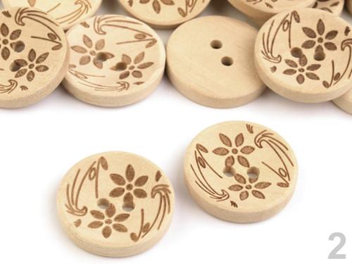 Dřevěný knoflík květy 19,7mm (10ks) - střední