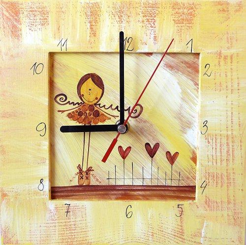 hodiny s velkou kukačkou - žluté s Pavlínkou