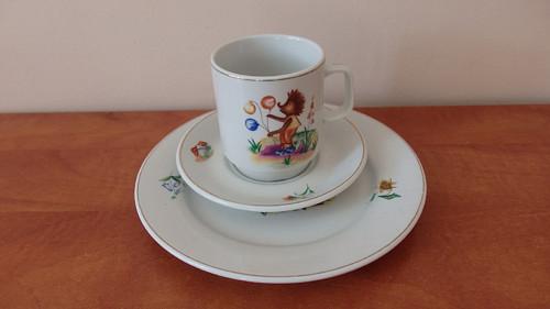 Dětská porcelánová sada s ježečkem 3 dílná