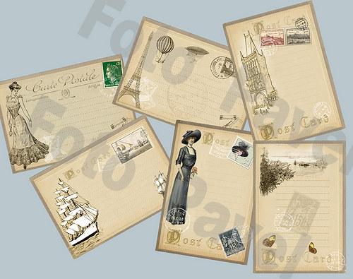 Vintage kartičky (journaling) - poštovní