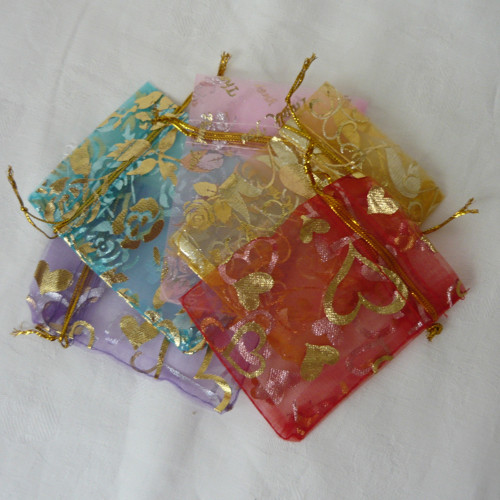 ♥ Sada dárkových sáčků z organzy - mix barev
