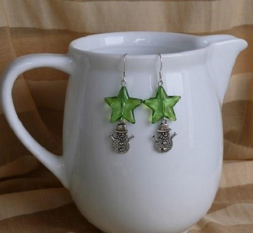 vánoční  náušnice - zelené hvězdy + sněhulák