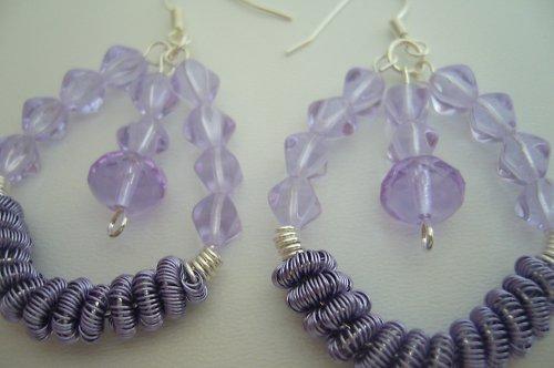 Náušky lila spirálky