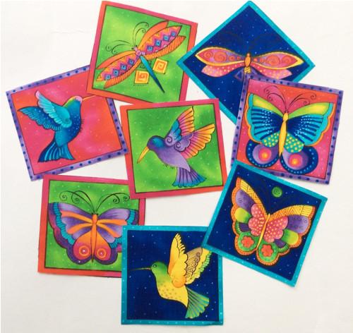 Motýl a kolibřík 3ks - nažehlovací obrázky