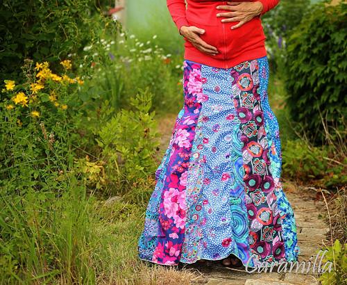 Dlouhá nabíraná sukně tyrkysovo-fialová M