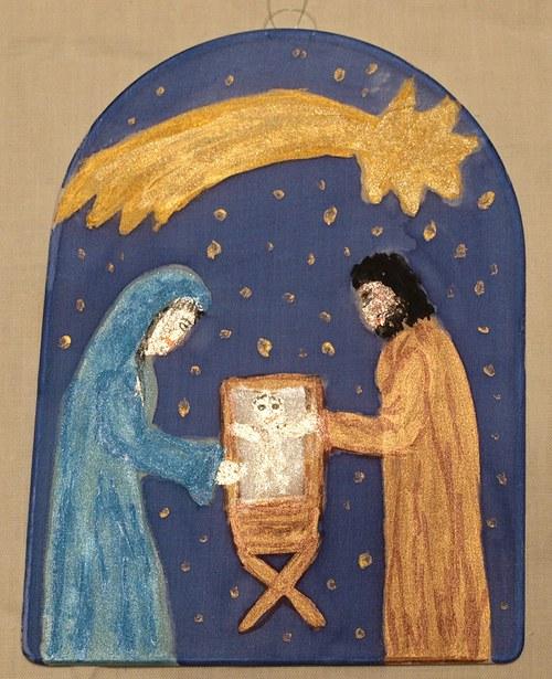 Betlém Maria v modrém 20 x 15