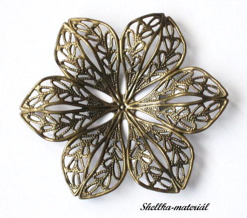 1503.MOSAZ-Filigránový květ/ 42,5-37,5mm/ 1 kus