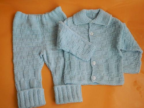 Soupravička modrá pletená