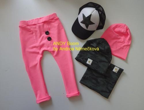 Neonově růžové baggy/tepláky/kalhoty  74/80