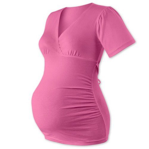 Těhotenská tunika na zavazování-  růžová
