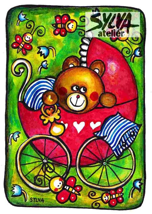 Medvědí miminko- pohlednice