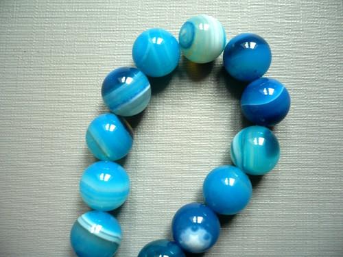 Vrtaný korálek - achát modrý 10 mm, 2 ks
