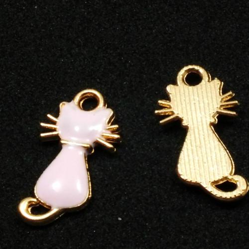 Přívěsek - kočka sedící zlatě lemovaná růžová,1ks
