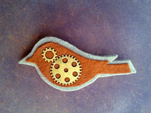 Steampunk ptáček - zlatý